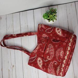 Vera Bradley Red Paisley Two Strap Hobo Bag